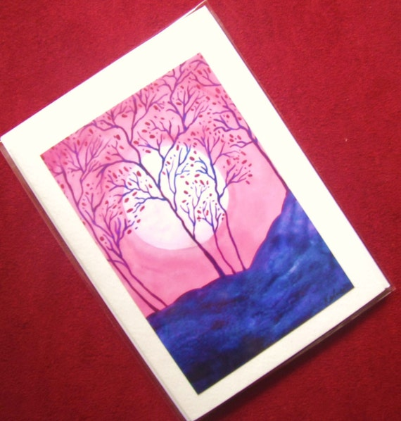 GREETING CARD Pink Asian Abstract Cherry Trees