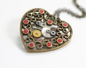 The Heart (Red) - Steampunk Pendant with Old Watch Gears HR19