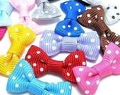 50PCS Nylon tiny ribbon bows dot pattern 28mm Assorted (9-11-01)