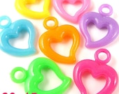80PCS 20x15MM Lovely heart plastic charms bead Assorted (11-19-177)