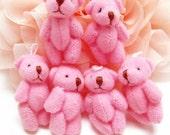 20PCS Tiny baby teddy bear doll charms 35x20mm Deep Pink (3-8-61)