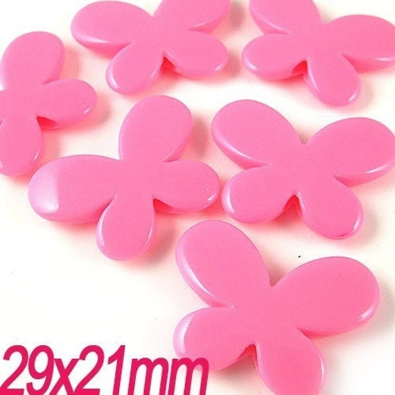 30PCS Butterfly plastic resin beads 21x29MM Pink (11-19-184)