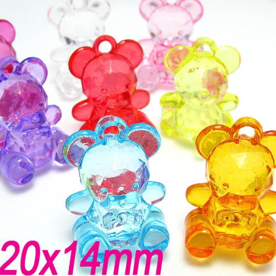 30PCS 20x14MM Teddy bear plastic bead charms Assorted (11-19-154)