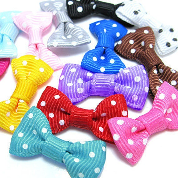 100PCS Nylon tiny ribbon bows dot pattern 28mm Assorted (9-11-01)