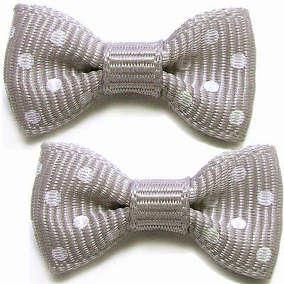 50PCS Nylon ribbon bows dot pattern 30mm Gray (9-11-134)