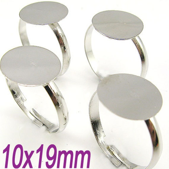 30PCS 10mm pad Dull silver adjustable metal ring blank base findings glue pad (1-18-05)