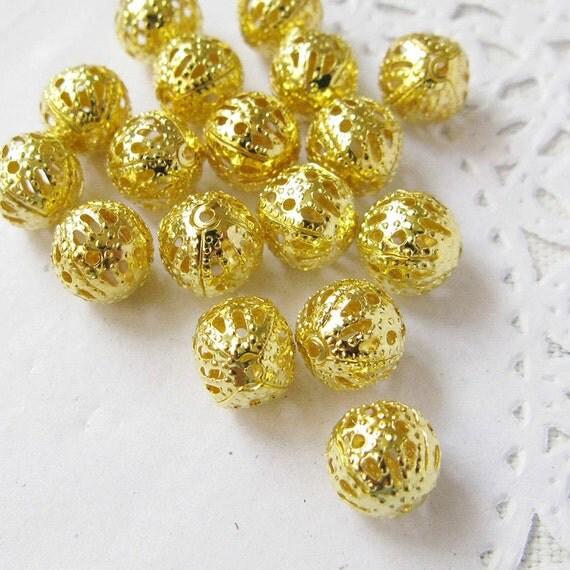 200PCS 8mm Gold plated filigree round metal beads (1-27-071)