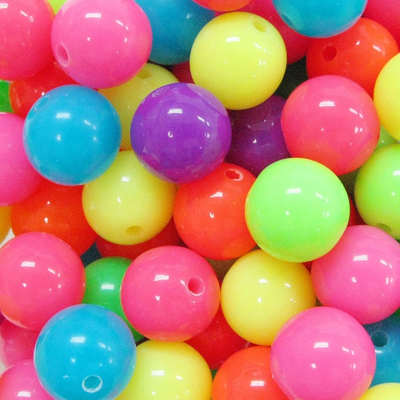 60PCS 12mm colorful neon color round small opaque plastic beads Assorted (11-19-342)