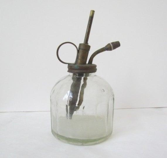 Vintage Mister Farmhouse Antique Jar Glass Liquid Mister with Brass Pump Style Plunger