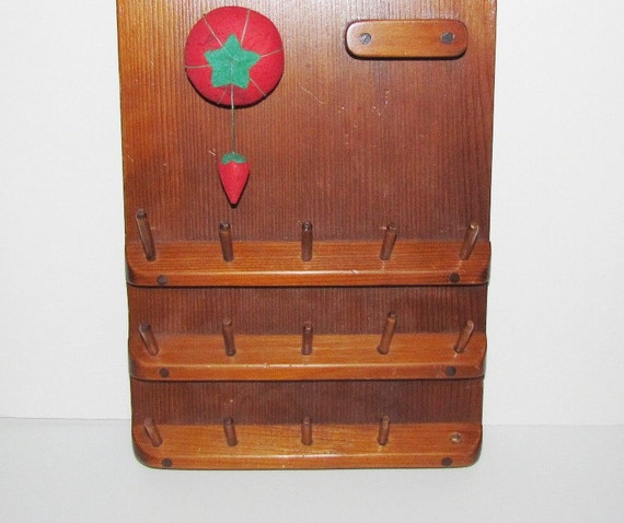 Vintage Wood Thread Spool Holder Wooden Wall Mount Rustic