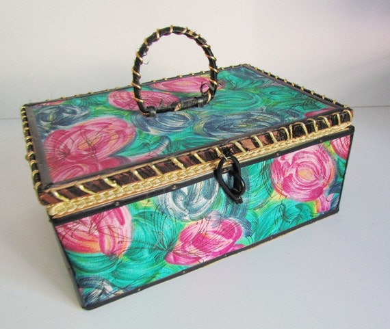 Sewing Basket Vintage Box Gold Teal Mauve Pink Blue Aquamarnie Roses For DIY Projects Craft Supplies