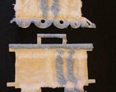 Vintage Chenille or Fabric Trains choo choo  Iron on set of 2 .