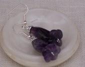 Amethyst Flower Earrings, Gemstone Earrings, Purple Earrings, Handmade Jewelry