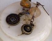 Antique Brass With Quartz Earrings, Gemstone Earrings, Beige Earrings, Odd earrings, Handmade Jewelry