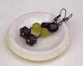 Green Tiger's eye, Olive Jade and Antique Brass Earrings, Gemstone Earrings, Dangle Earrings, UK Seller