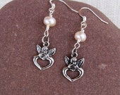 Angel's Earrings with Freshwater pearls, Handmade Earrings, Pearls Earrings, Pink Earrings, Handmade Jewelry