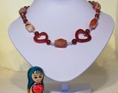 Carnelian Heart Shaped Necklace, Gemstone Necklace, Brown/Orange Earrings, Handmade Jewelry