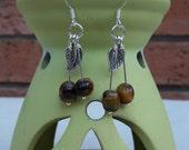 Tiger's Eye  Dangle Earrings with Silver Tone Leaf, Gemstone Earrings, Brown Earrings, UK Seller
