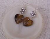 Tiger's Eye Dangle Earrings, Heart Shaped, With Silvertone Flower, Brown Earrings, Handmade jewelry
