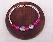 Fushia Agate, Silver Tone Heart, Curved Tubes Bracelet, Gemstone Bracelet, Handmade Jewelry, Uk Seller