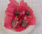 Gold stone Dangle Earrings with gold tone Heart, Handmade jewellry, Gift for Her