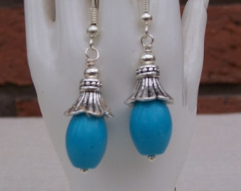 Turquoise Dangle Earrings with Silver Cups, Gemstone Earrings, Handmade Jewelry