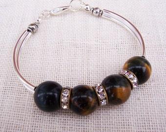 Tiger's Eye, Rhistone Vintage rings, Silver tone Curved Tubes Bangle Bracelet,Brown Bracelet, Gemstone Bracelet, UK Seller