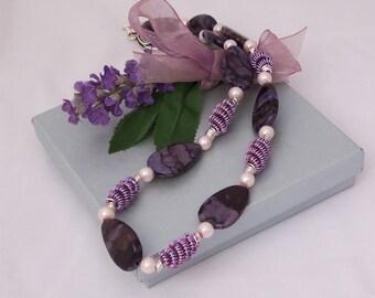 Handmade Purple Jasper and Wire Wrapped Necklace, Gemstone Necklace, Wire Wrapped, Purple Necklace