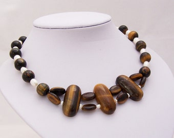 Tiger's Eye and Freshwater  Pearls Necklace, Gemstone Necklace, Chunky Necklace, Brown Necklace, UK Seller