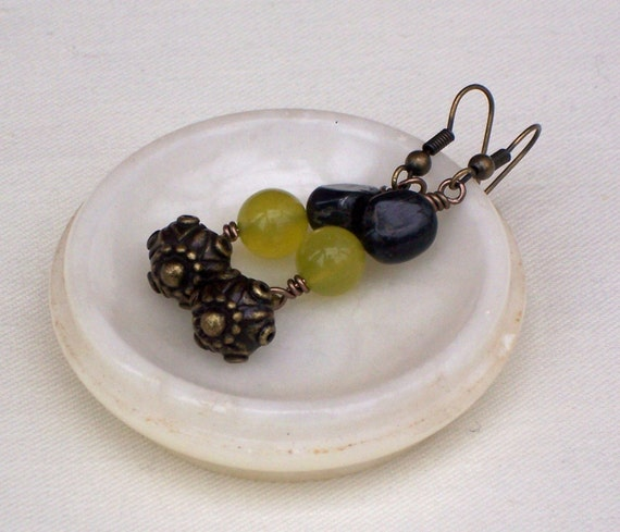 Green Tiger's eye, Olive Jade and Antique Brass Earrings, Gemstone Earrings, Dangle Earrings, UK Seller