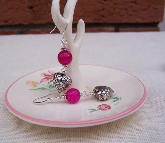 Agate Earrings with Silver Tone Heart, Gestone earrings, Fushia Earrings, Gift for her