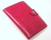 Leather wallet shiny pink magenta made in Germany