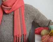 The 'Electric Coral' Handwoven Scarf, Neon Scarf