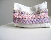 Organic Lavender Pillow Textile Art with Pink Braided Adornment