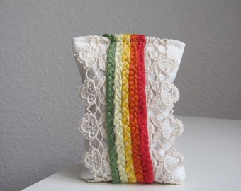 Organic Lavender Pillow Textile Art with Braided Adornment