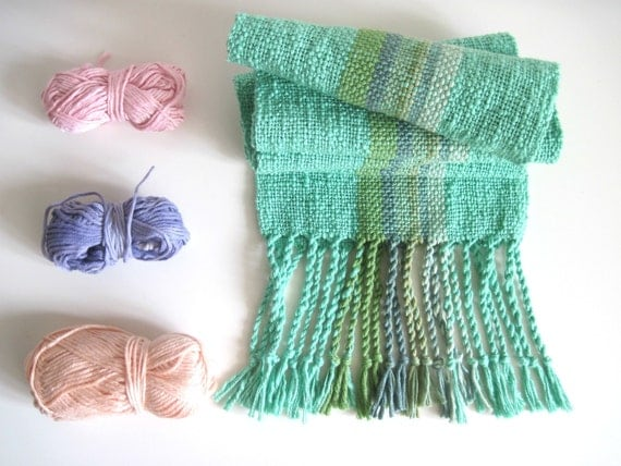 Handwoven Mint Forest Scarf - Blue Green Handmade Cotton Bamboo Wool Organic Cotton Unisex Scarf