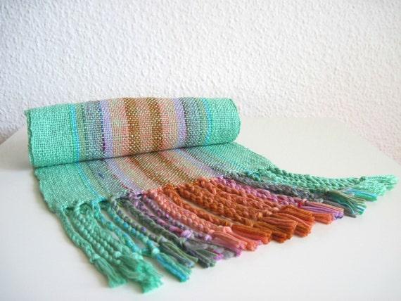 Scarf Handwoven Cotton - Mint Green Unicorn Colors Eco Friendly 'Confetti in Minty Mist'