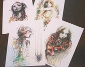 Limited Edition Summer Pack of 4 postcards by artist carne griffiths