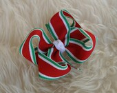 Red Green White Stripe Christmas Holiday Bow - MeiMei's Hairbows