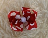 Red White Sparkle Polka Dot Christmas Holiday Bow - MeiMei's Hairbows
