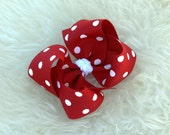 Red White Polka Dot Christmas Holiday Bow - MeiMei's Hairbows