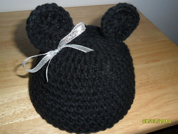 ANY HAT, ANY COLOR, ANY SIZE TO 5T,--Adorable Bear Beanie, Crocheted--Great Photo Prop