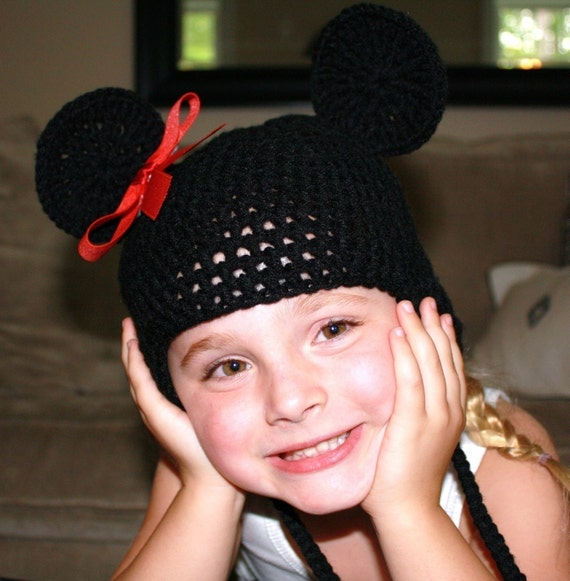 Cyber Monday Sale----Super Cute Mickey/Minnie Beanie, Crocheted with earflaps--Great Photo Prop---Any Color