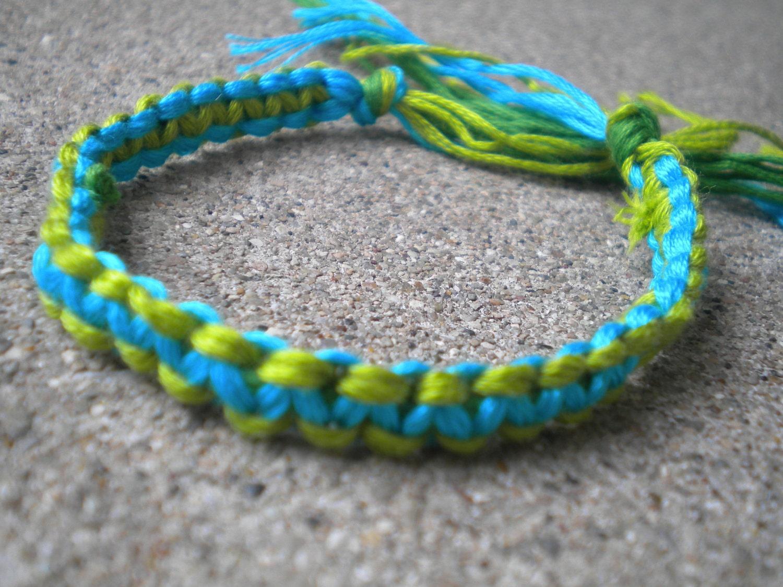 blue green square knot string friendship bracelet. Black Bedroom Furniture Sets. Home Design Ideas