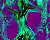 Goddess Energy Art Abstract Print Purple Green Reiki Tree Spirit 8 x 10
