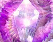 Pink Spiral Reiki Energy Art Print Crystal Abstract Art Wall Decor