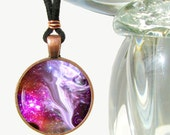 Angel Necklace Chakra Jewelry Reiki Energy Pendant Necklace Silver Fuchsia