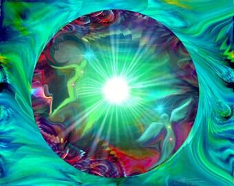 Red Green Chakra Art, Reiki Angel Energy Art, Green Decor Abstract Art Circle