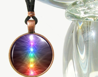 "Chakra Necklace, Reiki Jewelry, Rainbow Wearable Art Pendant Necklace ""Chakra Balance"""