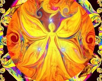 """Chakra Art Yellow Wall Decor, Abstract Angel Reiki Energy Art Print """"I Am"""""""